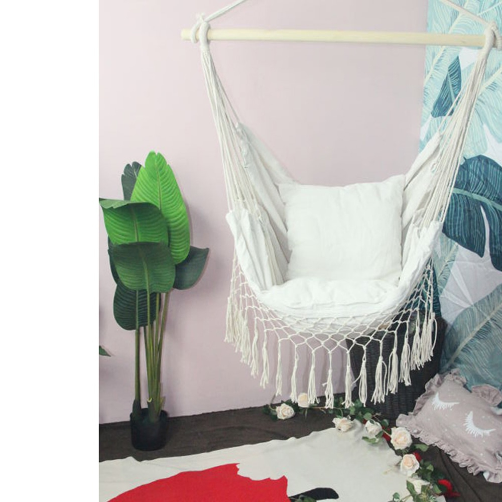 Widely Used Cotton Porch Swings Within Hanging Rope Hammock Chair Porch Swing Seat, Large Hammock Net Chair Swing Cotton Rope Porch Chair For Indoor Garden Patio Porch (View 11 of 25)