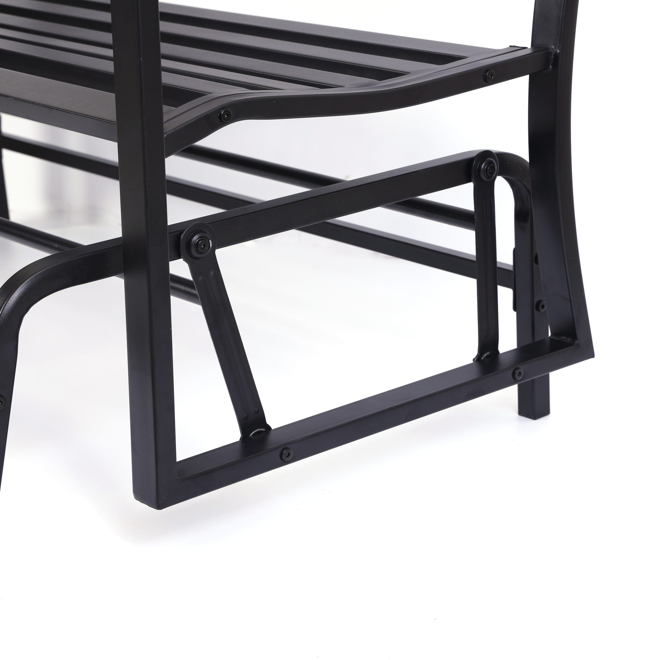 "Widely Used Details About Gardenised Black Steel Patio Garden Park Yard 50"" Outdoor Swing Glider Bench Throughout Black Steel Patio Swing Glider Benches Powder Coated (View 4 of 25)"