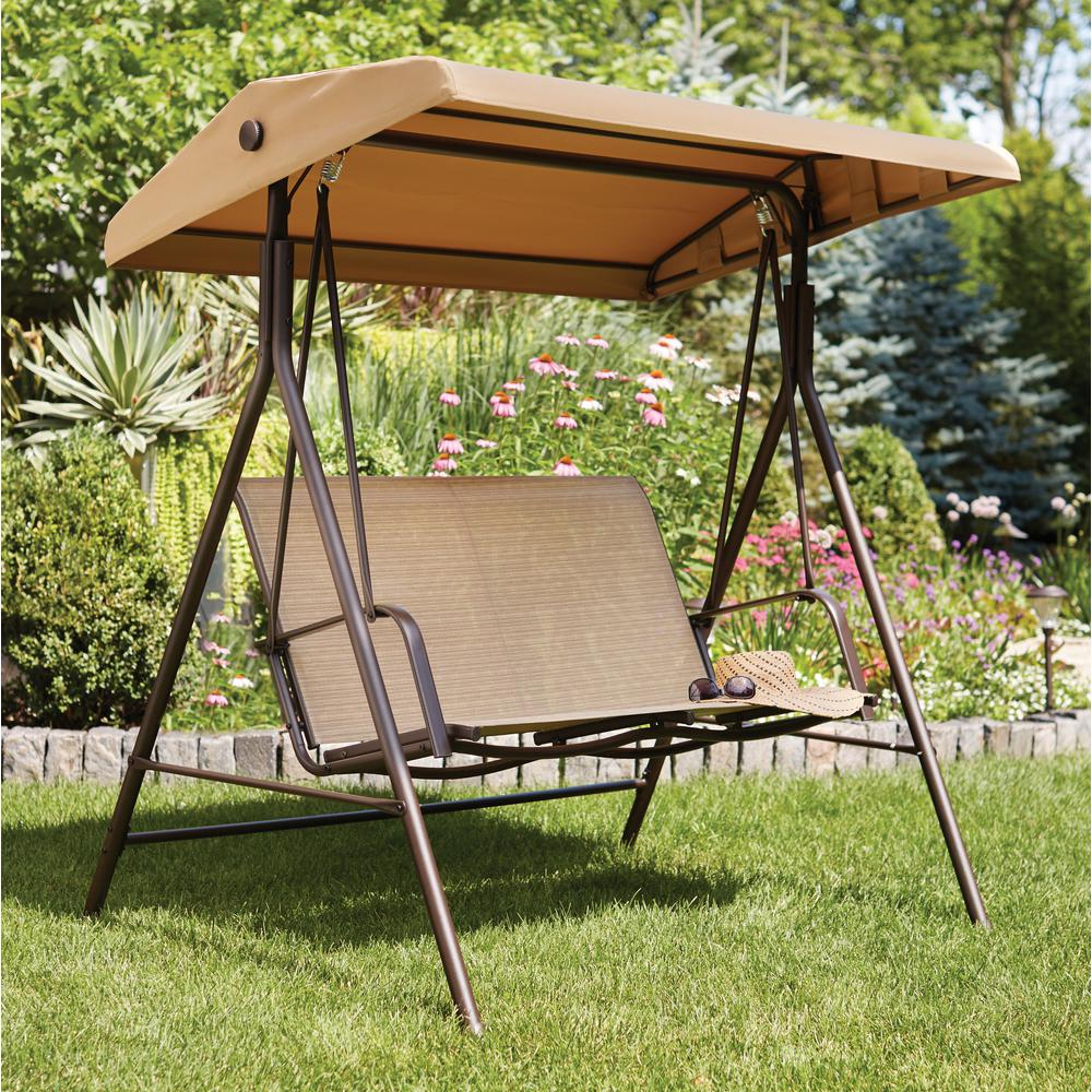 Widely Used Hampton Bay Mix And Match 2 Person Sling Outdoor Swing Inside 2 Person Light Teak Oil Wood Outdoor Swings (View 14 of 25)