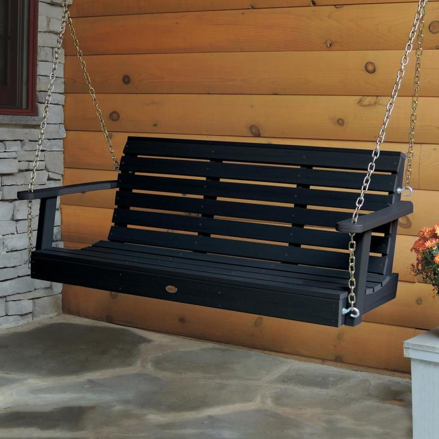 Widely Used Highwood Weatherly 2 Person Black Plastic Outdoor Swing At Within 2 Person Black Wood Outdoor Swings (Gallery 7 of 25)