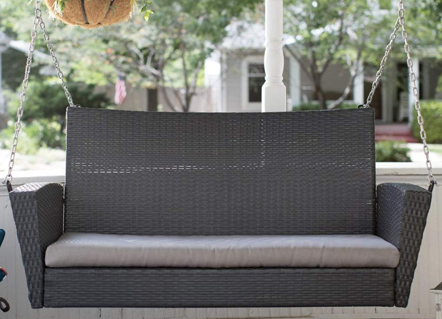 Widely Used Jeco W00205S C Fs011 Wicker Porch Swing Honey Porch Swings Intended For Porch Swings (Gallery 16 of 26)