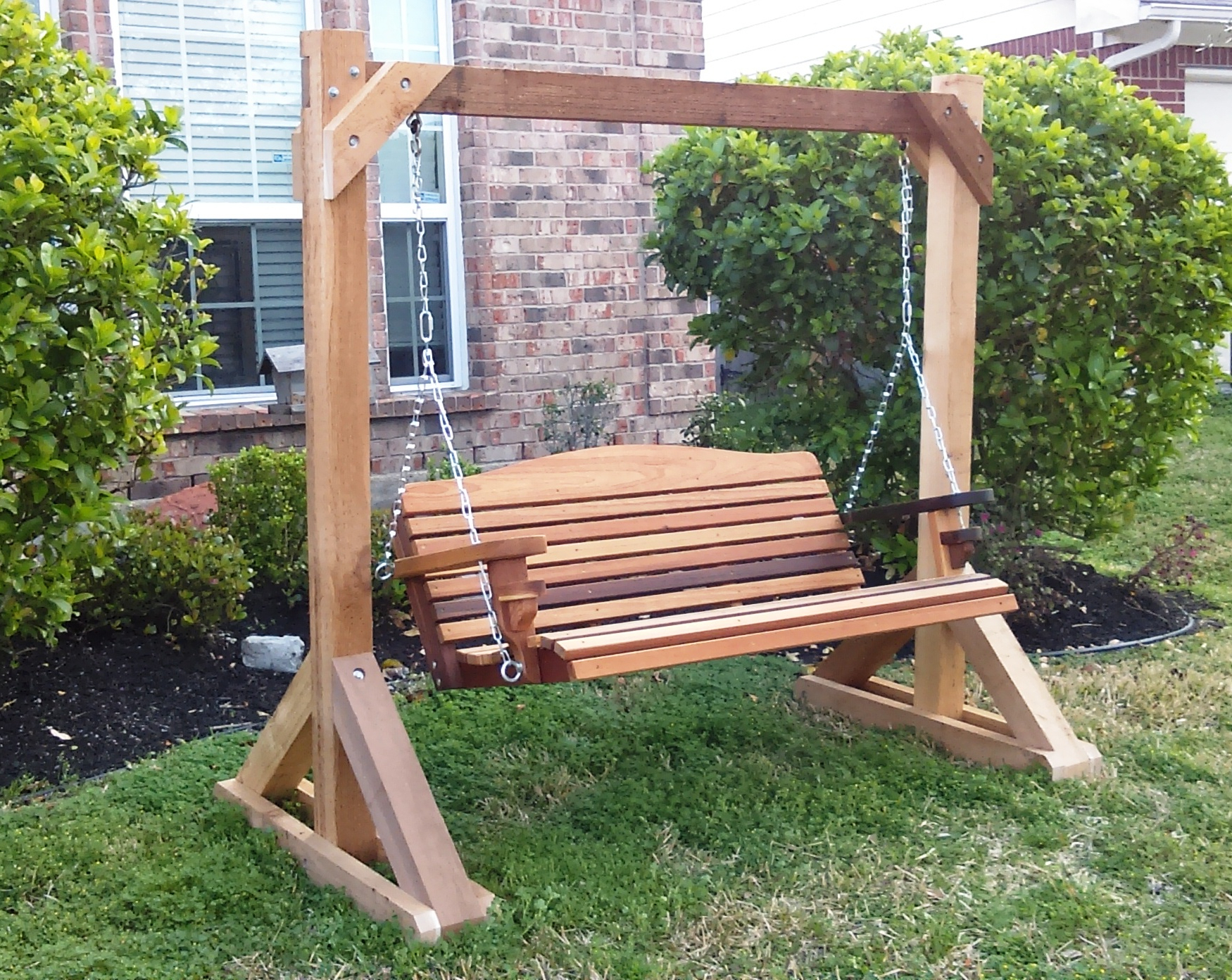 Widely Used Patio Porch Swings With Stand In Inspirations: Enjoy Your All Day With Cozy Wooden Porch (View 20 of 25)
