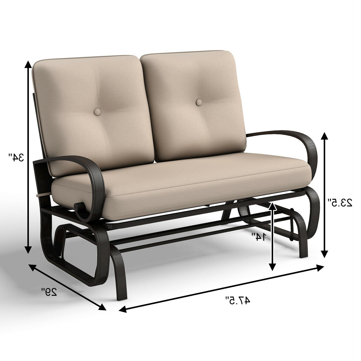 Widely Used Rocking Love Seats Glider Swing Benches With Sturdy Frame In Glider Outdoor Patio Rocking Bench Loveseat Cushioned Seat Steel Frame Furniture (View 5 of 25)