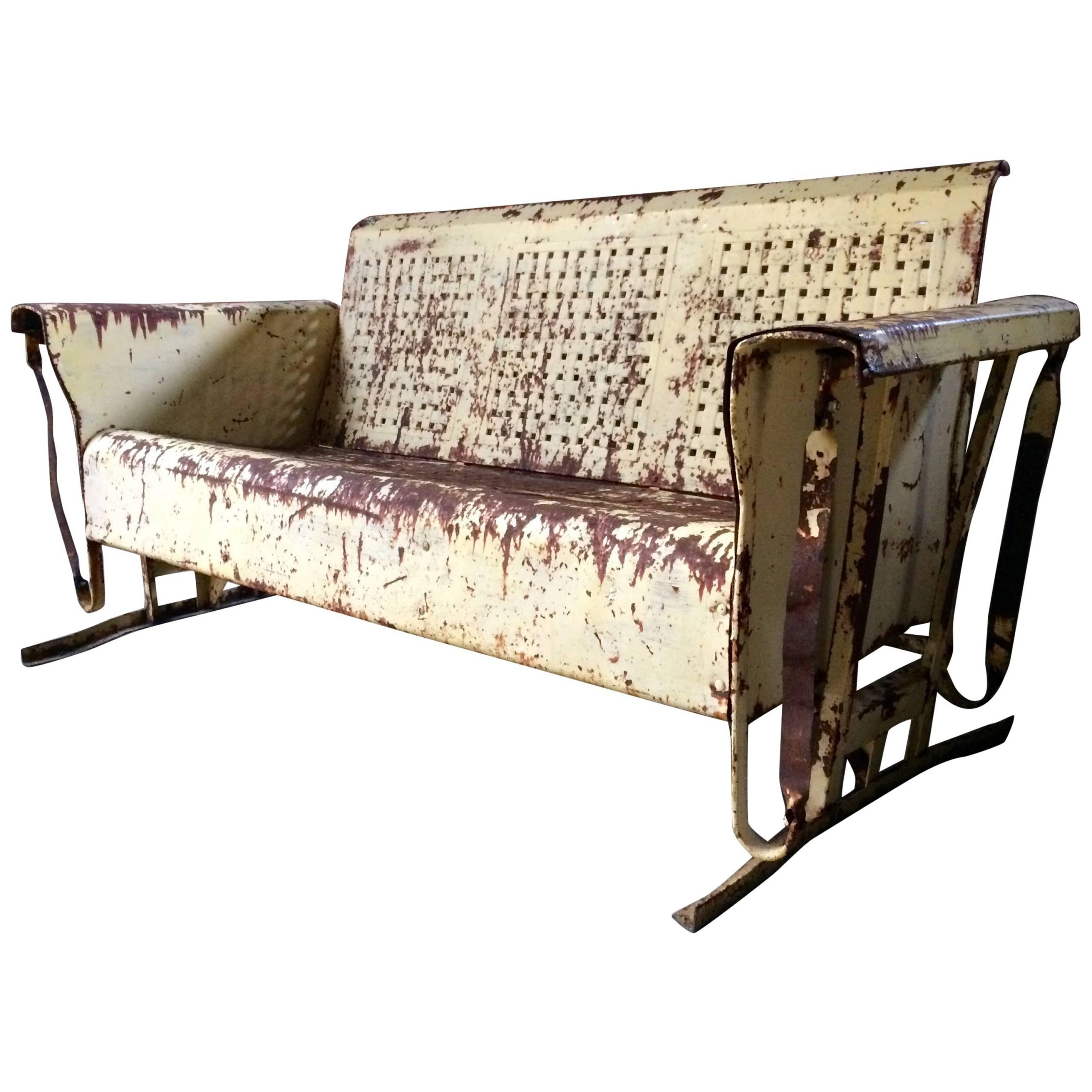 Widely Used Steel Patio Swing Glider Benches With Vintage Metal Porch Glider Garden Swing Bench French Painted (View 17 of 25)