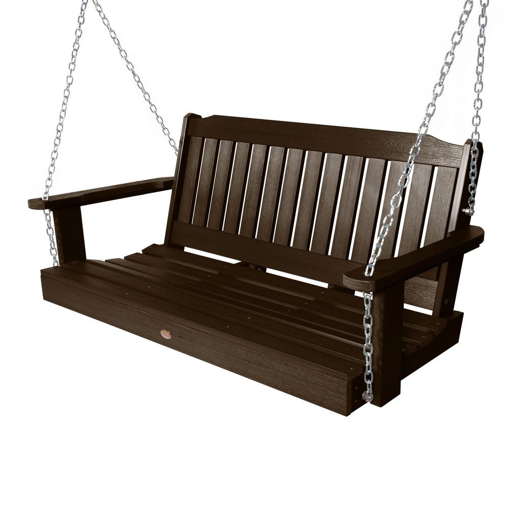 Wood – Porch Swings – Patio Chairs – The Home Depot In Most Recent 2 Person Black Wood Outdoor Swings (View 22 of 25)