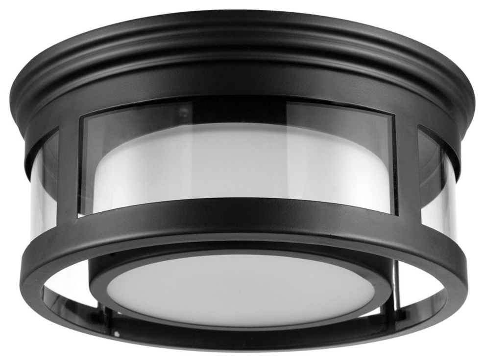 2019 Brisbane 1 Light Matte Black Outdoor/indoor Flush Mount Throughout Whisnant Black Integrated Led Frosted Glass Outdoor Flush Mount (View 9 of 15)
