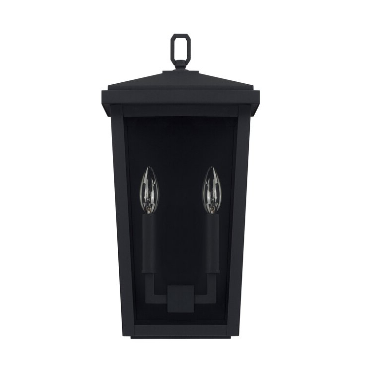 2019 Charlton Home® Maghull 2 – Bulb 17.75'' H Glass Outdoor For Walland Black  (View 3 of 15)