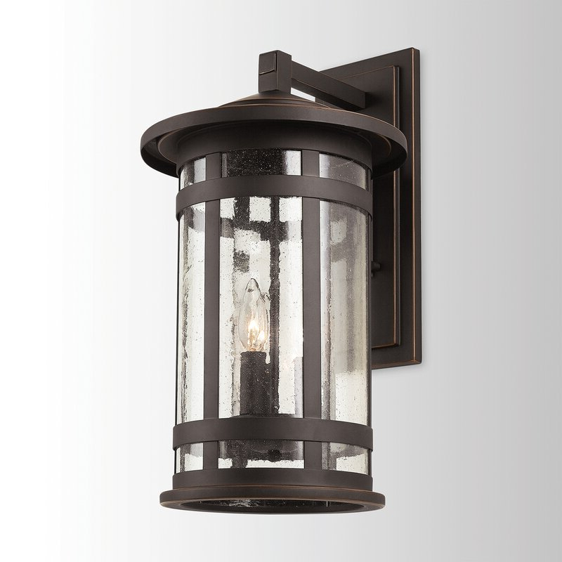 2019 Emaje Black Seeded Glass Outdoor Wall Lanterns Regarding Breakwater Bay Andish Black 3 – Bulb  (View 3 of 15)