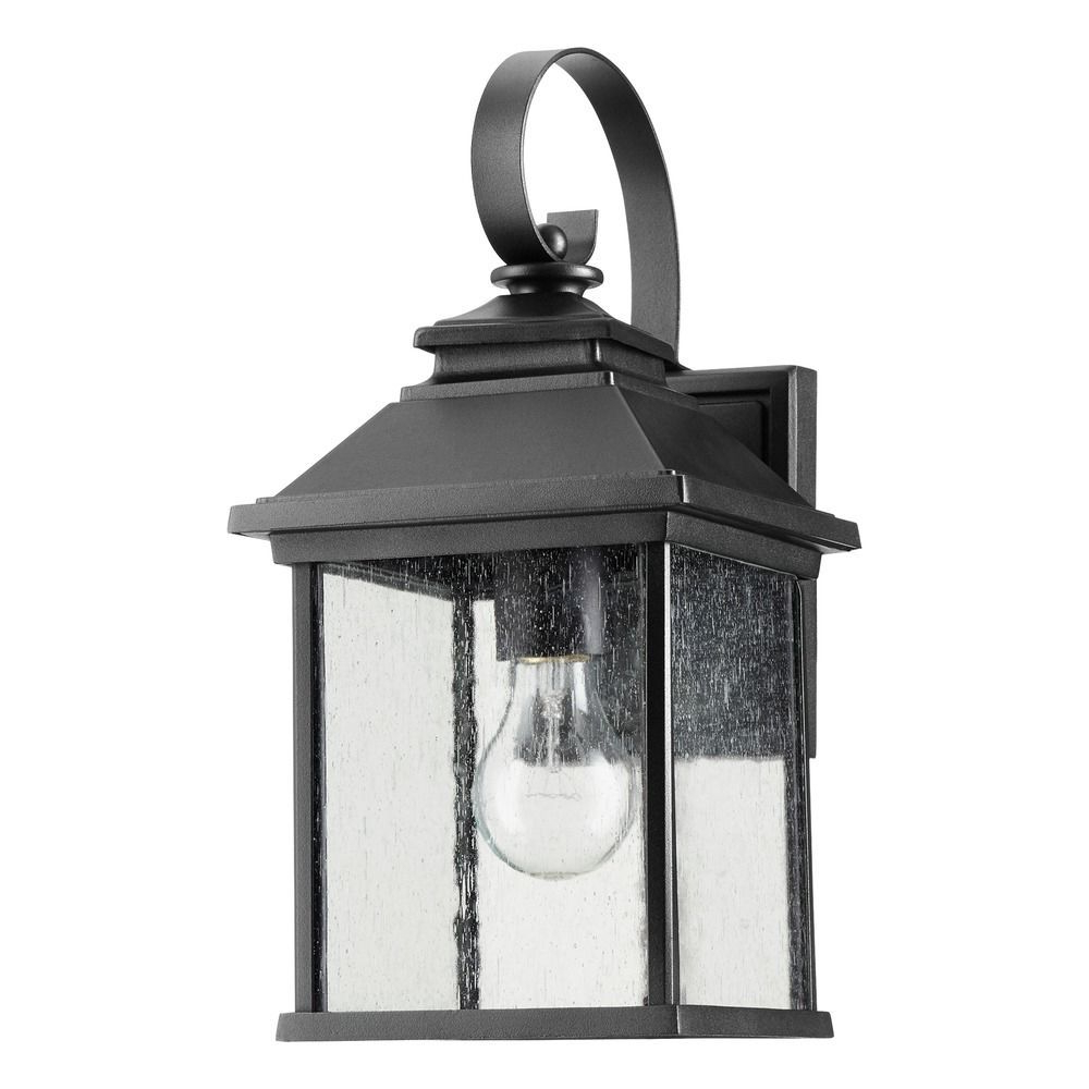2019 Emaje Black Seeded Glass Outdoor Wall Lanterns Within Seeded Glass Outdoor Wall Light Black Quorum Lighting At (View 8 of 15)