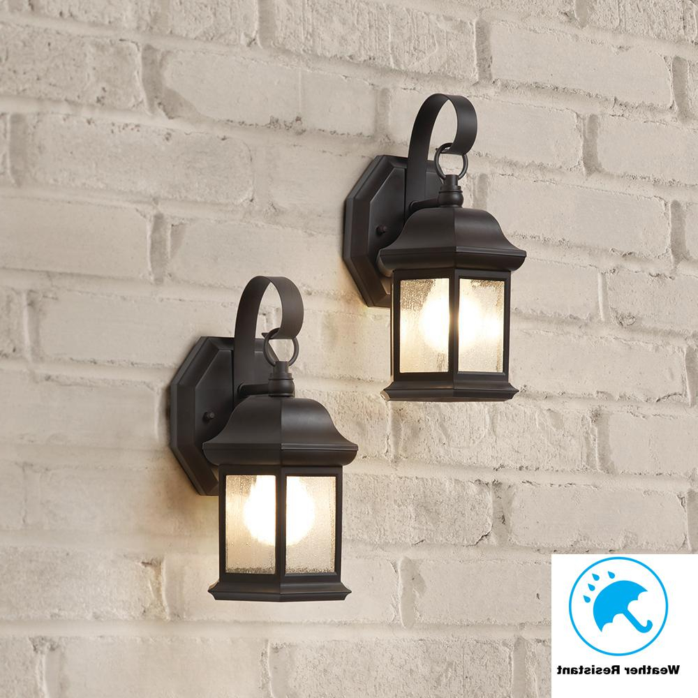 2019 Hampton Bay 1 Light Bronze Outdoor Wall Mount Lantern With Within Robertson 2 – Bulb Seeded Glass Outdoor Wall Lanterns (View 11 of 15)