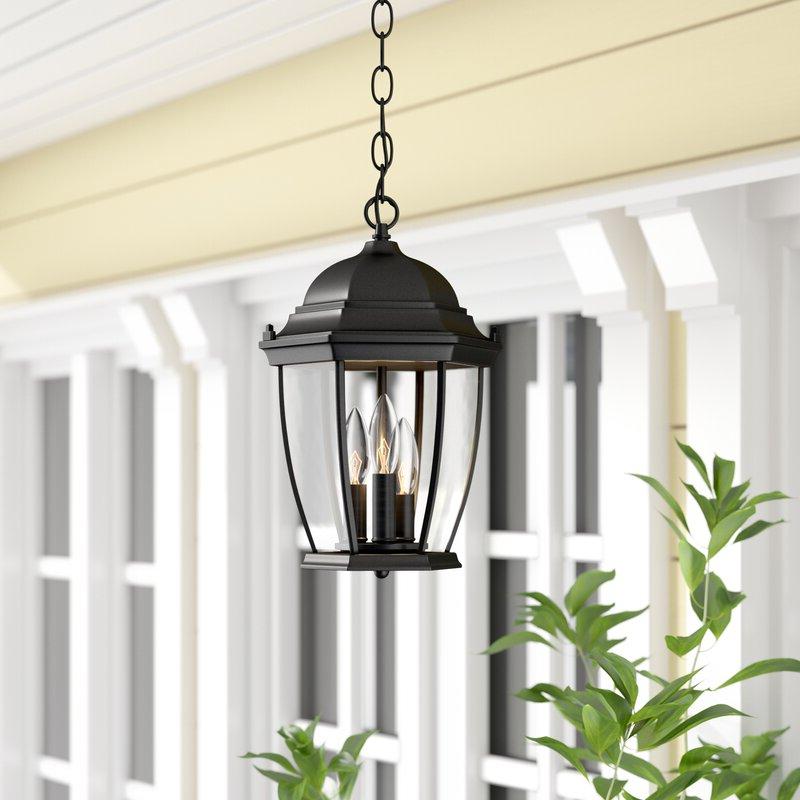 2019 Keiki Matte Black 11'' H Outdoor Wall Lanterns Pertaining To Astoria Grand Drumkeeran 3 Light Outdoor Hanging Lantern (View 12 of 15)