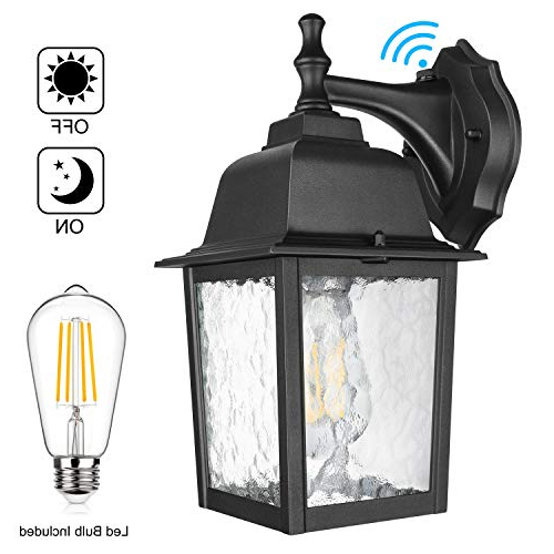 2019 Manteno Black Outdoor Wall Lanterns With Dusk To Dawn Pertaining To Dusk To Dawn Sensor Outdoor Wall Lantern Waterproof (View 5 of 15)