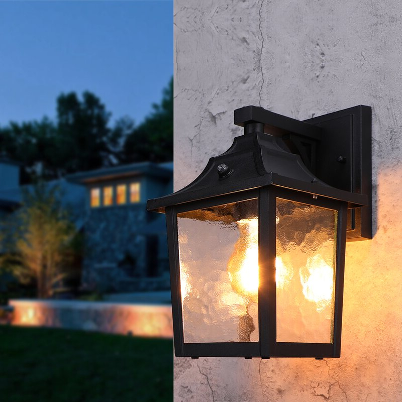 """Alcott Hill® Billups Black 1 – Bulb 6"""" H Outdoor Wall In Most Up To Date Manteno Black Outdoor Wall Lanterns With Dusk To Dawn (View 11 of 15)"""
