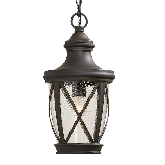 Allen + Roth Castine Rubbed Bronze Traditional Seeded For Favorite Heinemann Rubbed Bronze Seeded Glass Outdoor Wall Lanterns (View 10 of 15)