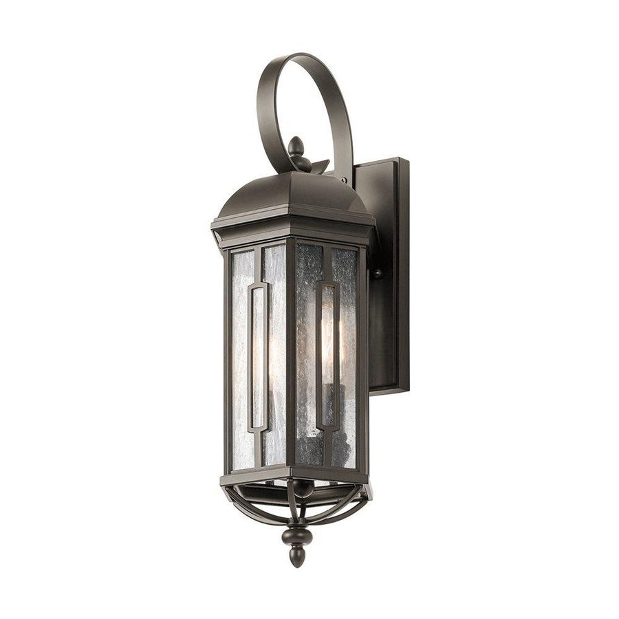 Anner 18'' H Seeded Glass Outdoor Wall Lanterns In Well Known Kichler Galemore 18 In H Olde Bronze Candelabra Base (e  (View 4 of 15)