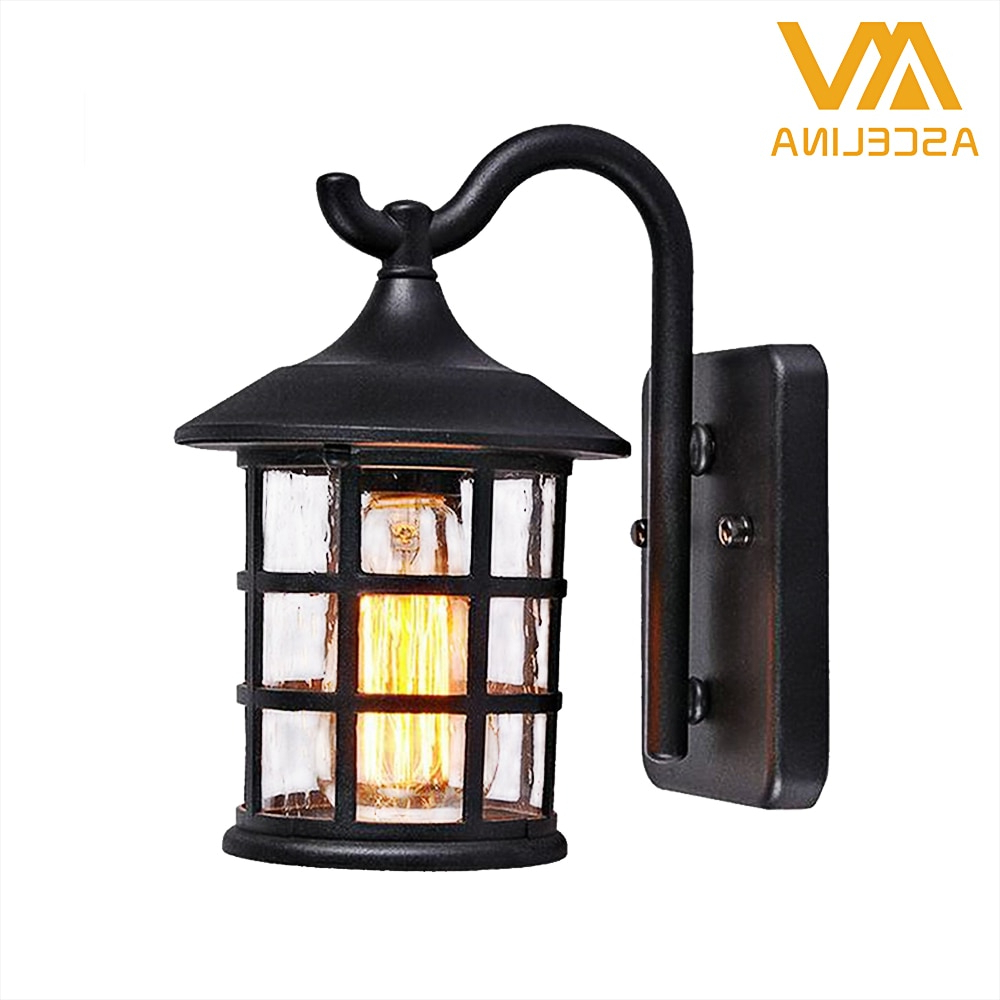 Antique Rustic Iron Waterproof Outdoor Wall Lamp Vintage Pertaining To Popular Rickey Matte Antique Black Wall Lanterns (View 6 of 15)
