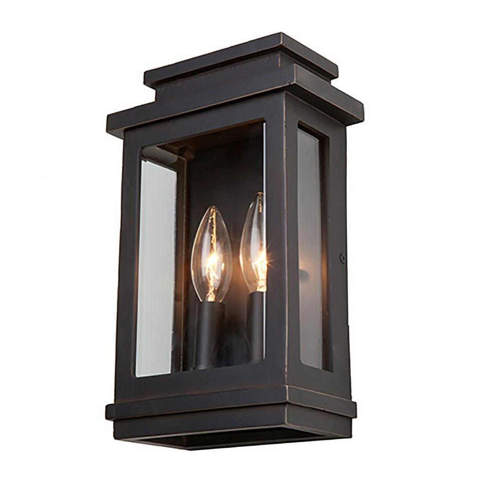 Artcraft 2 Light Oil Rubbed Bronze Outdoor Wall Lantern For 2019 Chicopee 2 – Bulb Glass Outdoor Wall Lanterns (View 7 of 15)