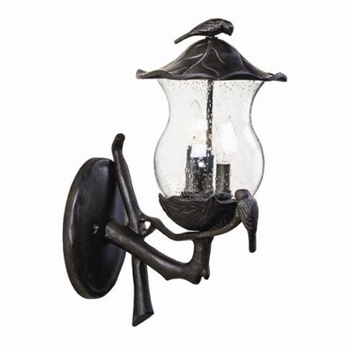 Avian Black Coral Three Light Outdoor Wall Mount With Inside Preferred Clarisa Seeded Glass Outdoor Barn Lights With Dusk To Dawn (View 14 of 15)