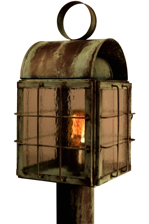 Back Bay Lantern Post Light Outdoor Nautical Copper Lantern Regarding Most Recently Released Anner 18'' H Seeded Glass Outdoor Wall Lanterns (View 7 of 15)