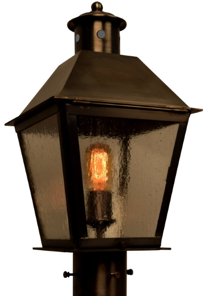 Banford Post Light Outdoor Rustic Copper Lantern With Regard To Most Current Tilley Olde Bronze Water Glass Outdoor Wall Lanterns (View 11 of 15)