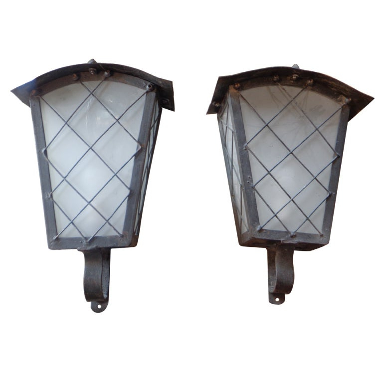 Bayou 17'' H Beveled Glass Outdoor Wall Lanterns Intended For Latest Large French Zinc Wall Lights With Glass Panels At 1stdibs (View 2 of 15)
