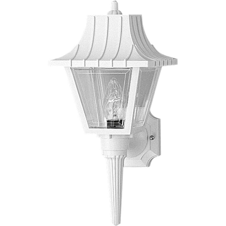 Bayou 17'' H Beveled Glass Outdoor Wall Lanterns Throughout Current Shop Progress Lighting Mansard 17 In H White Outdoor Wall (View 11 of 15)