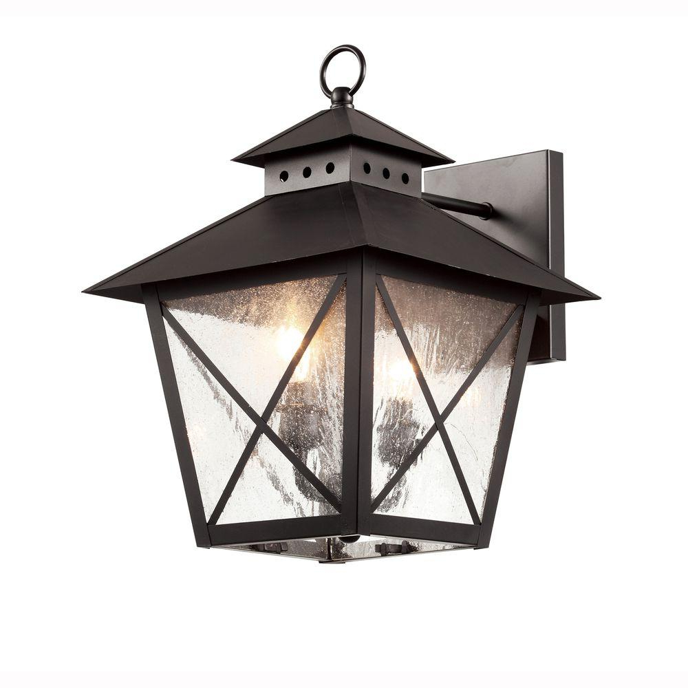 Bel Air Lighting Farmhouse 2 Light Outdoor Black Wall With Best And Newest Palma Black/clear Seeded Glass Outdoor Wall Lanterns (View 9 of 15)