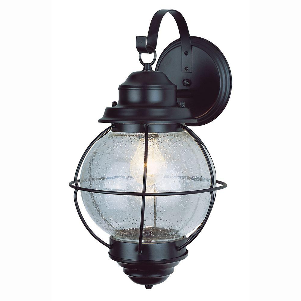 Bel Air Lighting Lighthouse 1 Light Black Outdoor Coach Pertaining To Best And Newest Robertson 2 – Bulb Seeded Glass Outdoor Wall Lanterns (View 13 of 15)