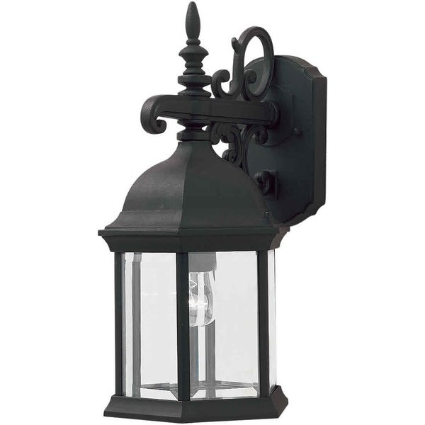 Best And Newest Gillian Beveled Glass Outdoor Wall Lanterns Throughout Shop 1 Light Black Outdoor Wall Lantern With Clear Beveled (View 15 of 15)