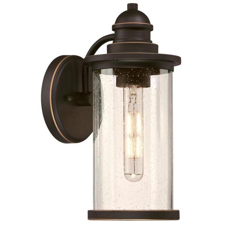 Best And Newest Westinghouse Vicksburg Medium 1 Light Oil Rubbed Bronze Regarding Heinemann Rubbed Bronze Seeded Glass Outdoor Wall Lanterns (View 11 of 15)