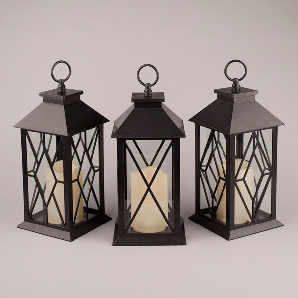 Black Plastic Diamond Indoor/outdoor Lantern With Glass Throughout Popular Rockmeade Black 11'' H Outdoor Wall Lanterns (View 13 of 15)