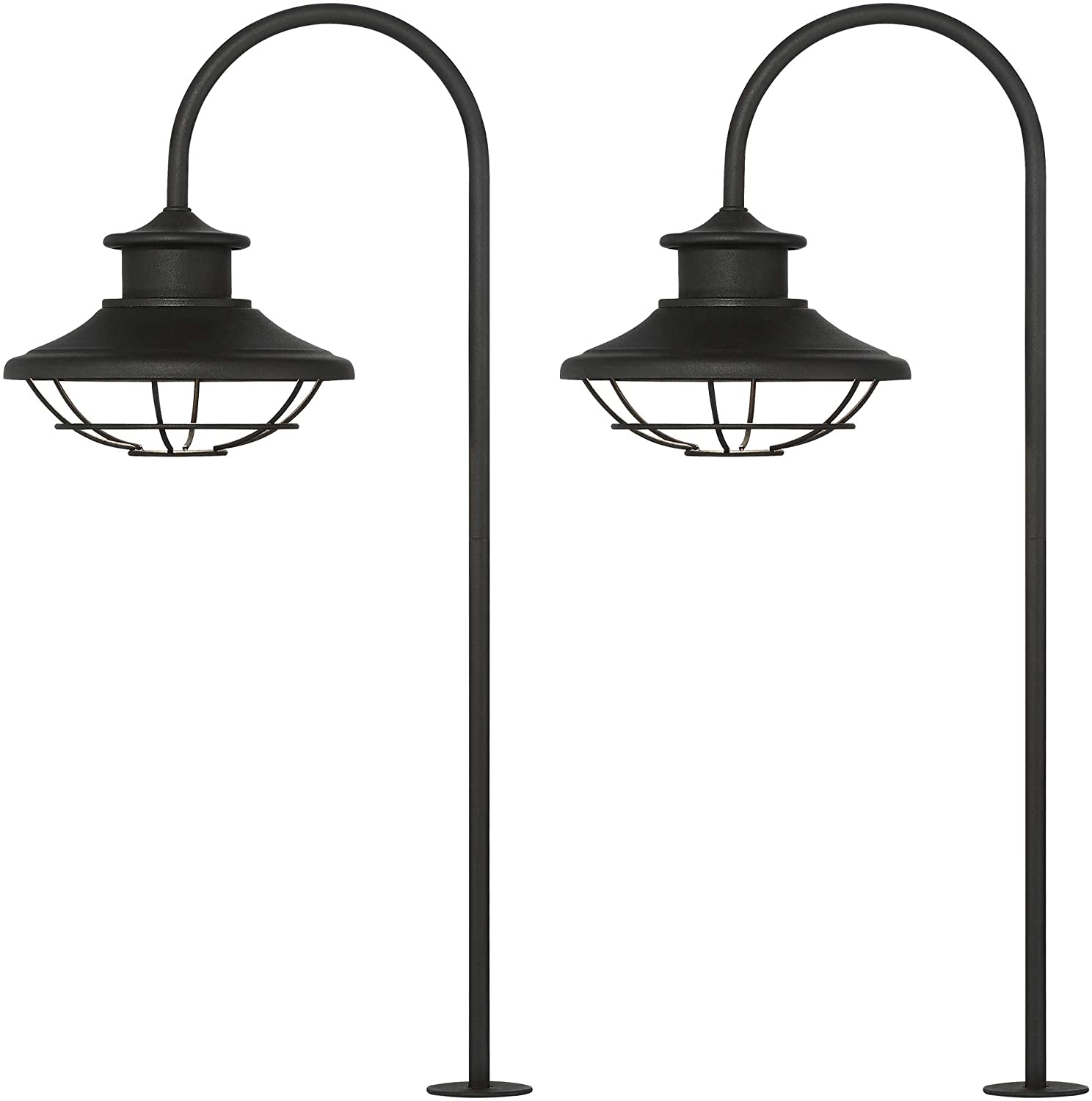 Braden 23 1/2″ High Textured Black Led Path Lights Set Of In Fashionable Sheard Textured Black 2 – Bulb Wall Lanterns (View 8 of 15)