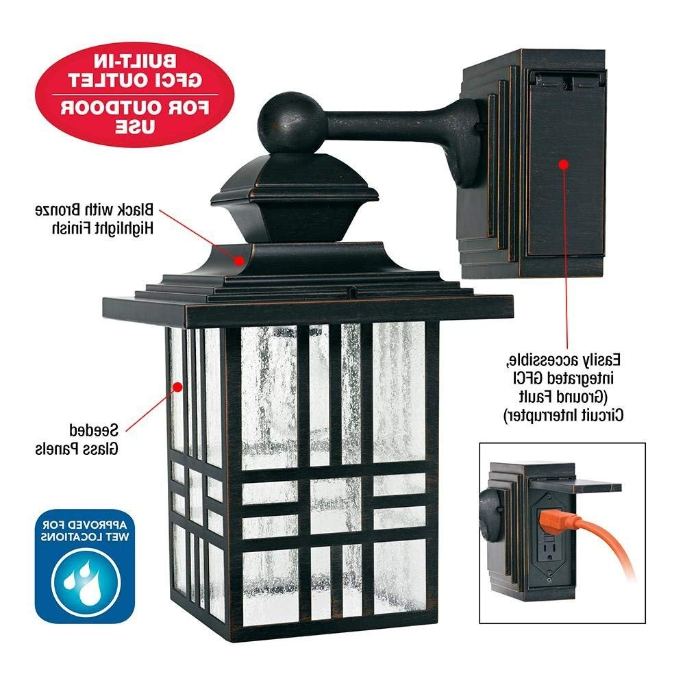 Brierly Oil Rubbed Bronze/black 12'' H Outdoor Wall Lanterns With Popular Outdoor Light With Built In Gfci Outlet (View 13 of 15)