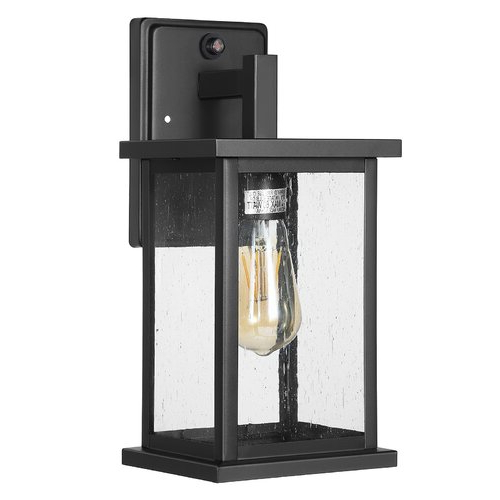 Brook Black 9.5'' H Seeded Glass Outdoor Wall Lanterns With Dusk To Dawn With Best And Newest Industrial Lodge Home Brook Black  (View 2 of 7)