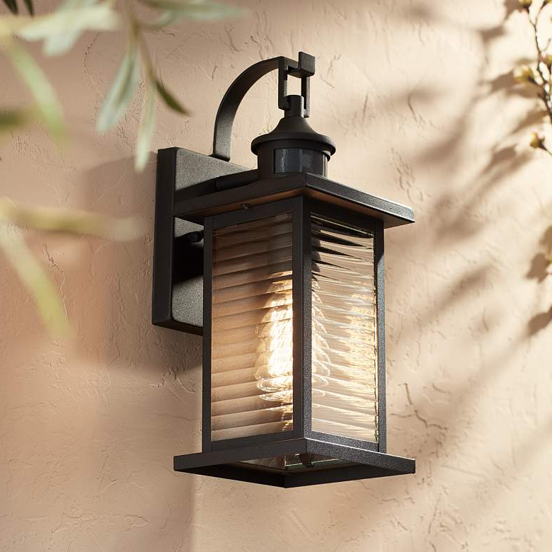 """Cameron 13 3/4"""" High Black Motion Sensor Outdoor Wall Pertaining To Most Up To Date Roden Black 3 Bulb Outdoor Wall Lanterns (View 3 of 15)"""