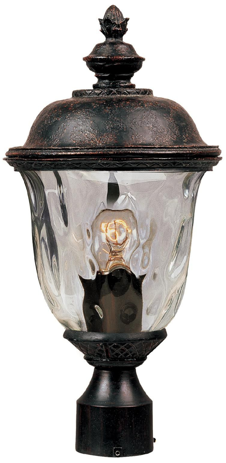 """Carriage House Collection 19 1/2"""" High Outdoor Post Light Regarding Widely Used Tilley Olde Bronze Water Glass Outdoor Wall Lanterns (View 9 of 15)"""