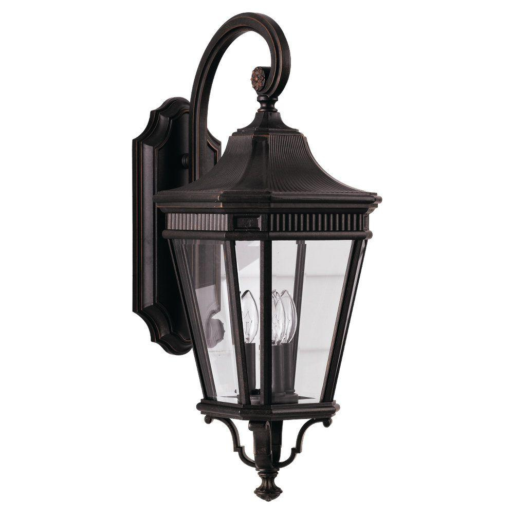 Carrington Beveled Glass Outdoor Wall Lanterns Pertaining To Favorite Feiss Cotswold Lane 3 Light Grecian Bronze Outdoor Wall (View 13 of 15)