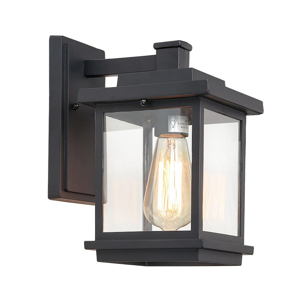 Carrington Beveled Glass Outdoor Wall Lanterns With Most Recently Released Lnc Square 1 Light Black Outdoor Wall Mount Lantern With (View 15 of 15)
