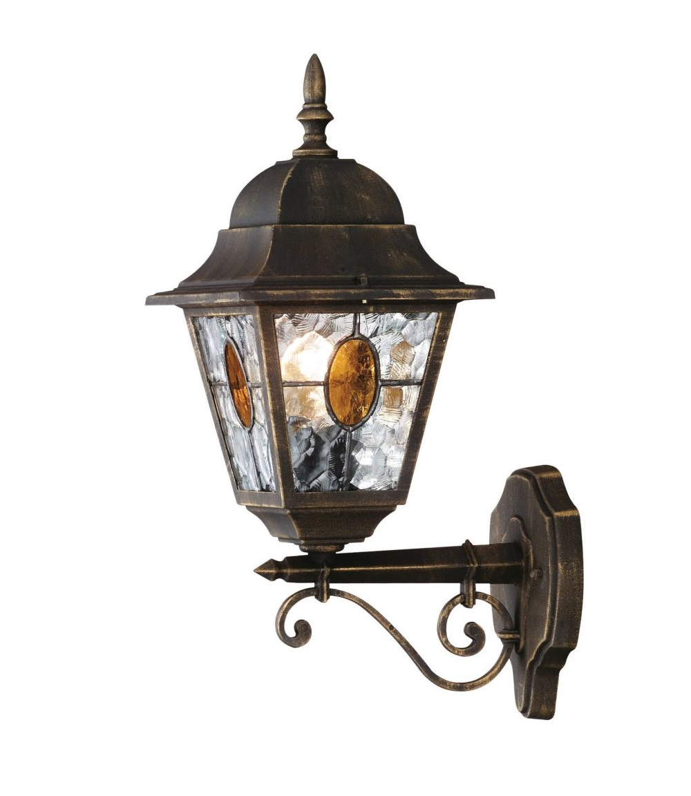 Carrington Beveled Glass Outdoor Wall Lanterns With Regard To Well Known Traditional Black Gold Stained Glass Ip44 Outdoor Porch (View 11 of 15)