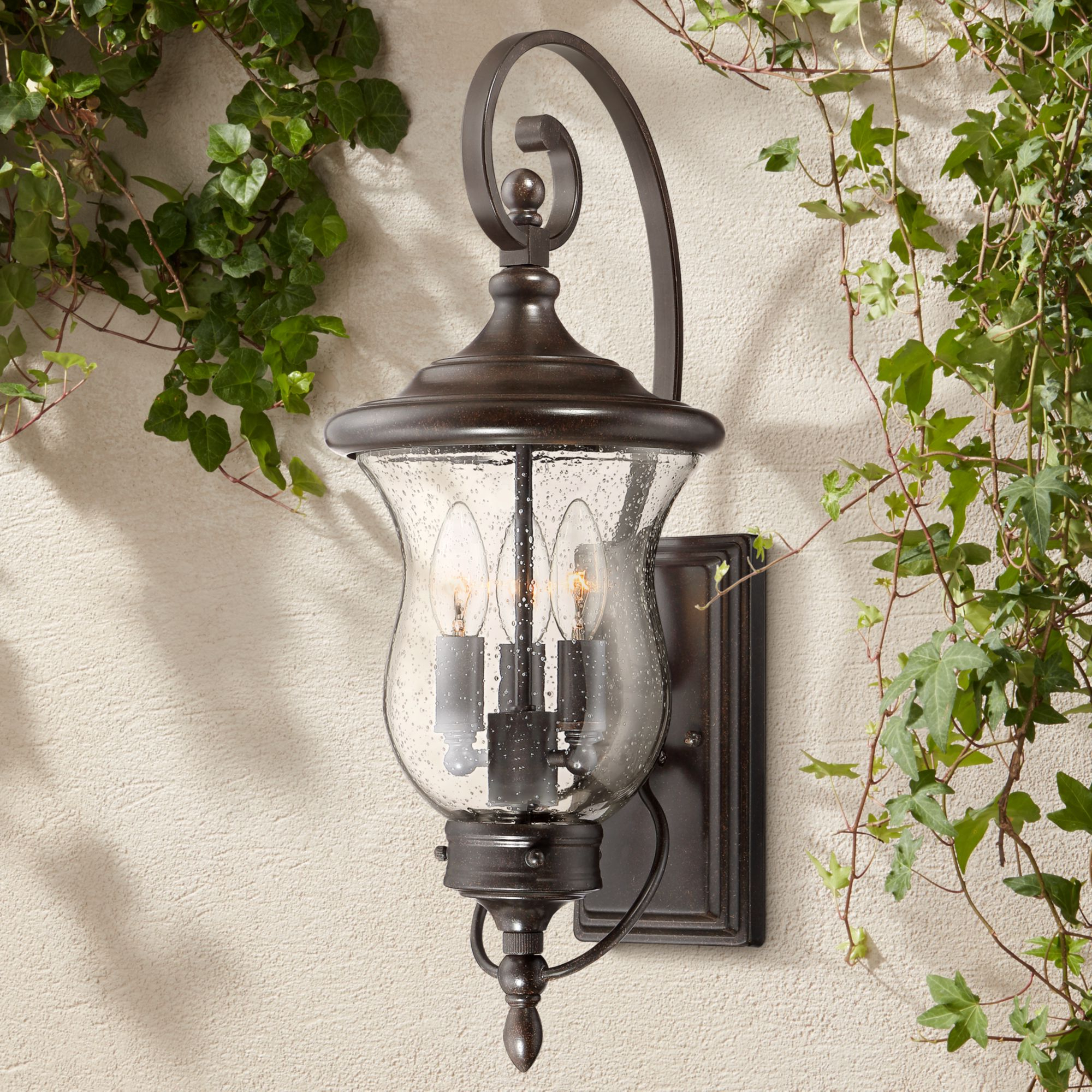 Carrington Beveled Glass Outdoor Wall Lanterns With Trendy Franklin Iron Works Traditional Outdoor Wall Light Fixture (View 5 of 15)