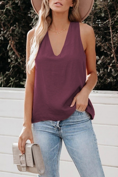 Casual Womens Solid Color Open Back V Neck Sleeveless For Recent Edinburg Black  (View 6 of 15)