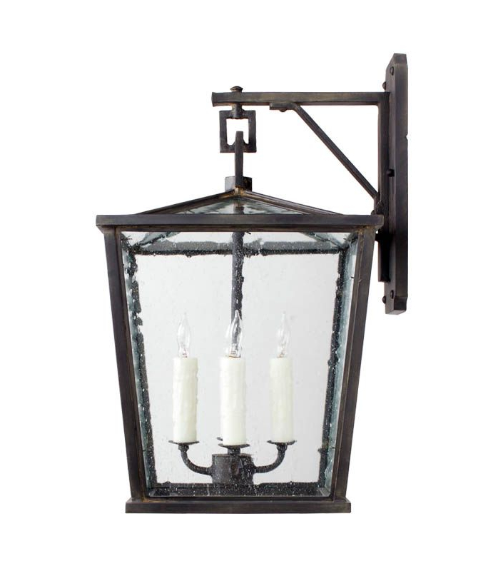 Chelston 12'' H Seeded Glass Outdoor Wall Lanterns For Famous Ex 159 Hand Forged Iron Four Light Exterior Lantern (View 6 of 15)
