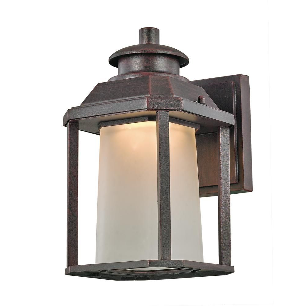 Chelston 12'' H Seeded Glass Outdoor Wall Lanterns Pertaining To Most Recent Bel Air Lighting Southfield 20 Watt Rust Outdoor (View 9 of 15)