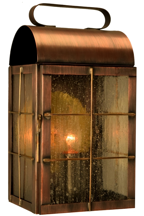 Chelston 12'' H Seeded Glass Outdoor Wall Lanterns With Regard To Fashionable New Haven Colonial Wall Sconce Outdoor Light Copper Lantern (View 13 of 15)