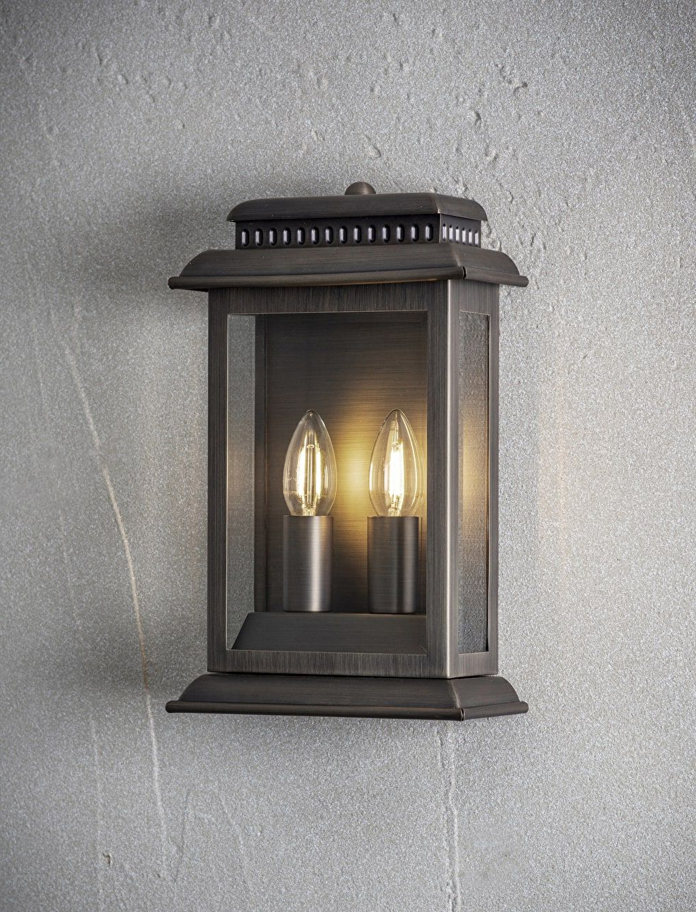 Chicopee 2 – Bulb Glass Outdoor Wall Lanterns Regarding Most Recently Released A Plated Bronze Outdoor Wall Light Matched With Two Candle (View 12 of 15)