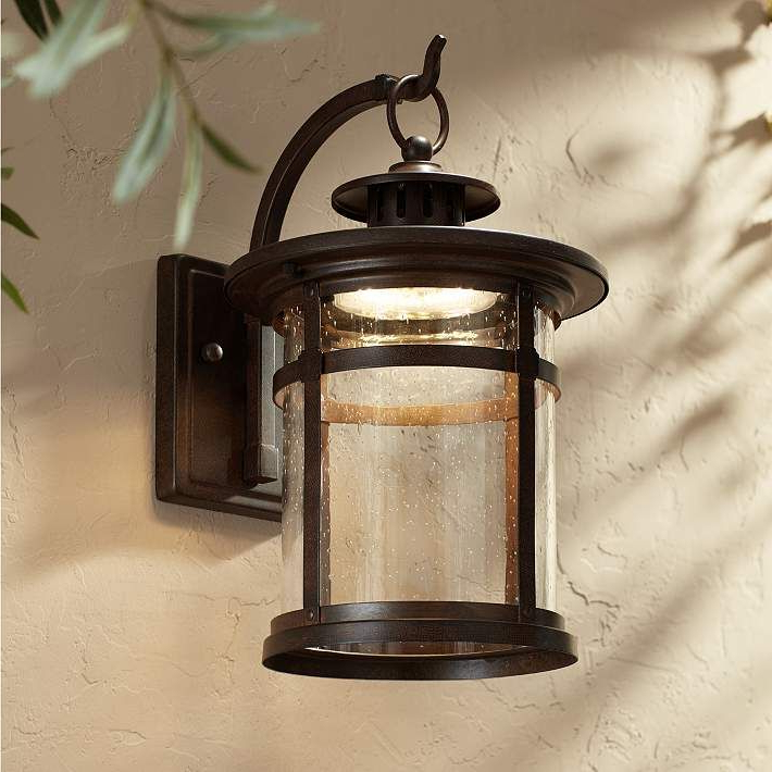 """Chicopee 2 – Bulb Glass Outdoor Wall Lanterns Throughout Newest Callaway 14 1/2"""" High Bronze Led Outdoor Wall Light (View 2 of 15)"""