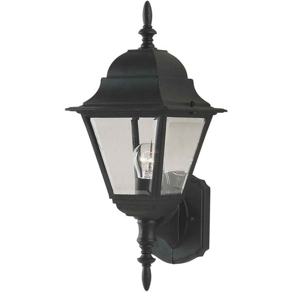 Chicopee Beveled Glass Outdoor Wall Lanterns Inside Famous 1 Light Black Outdoor Wall Lantern With Clear Beveled (View 13 of 15)