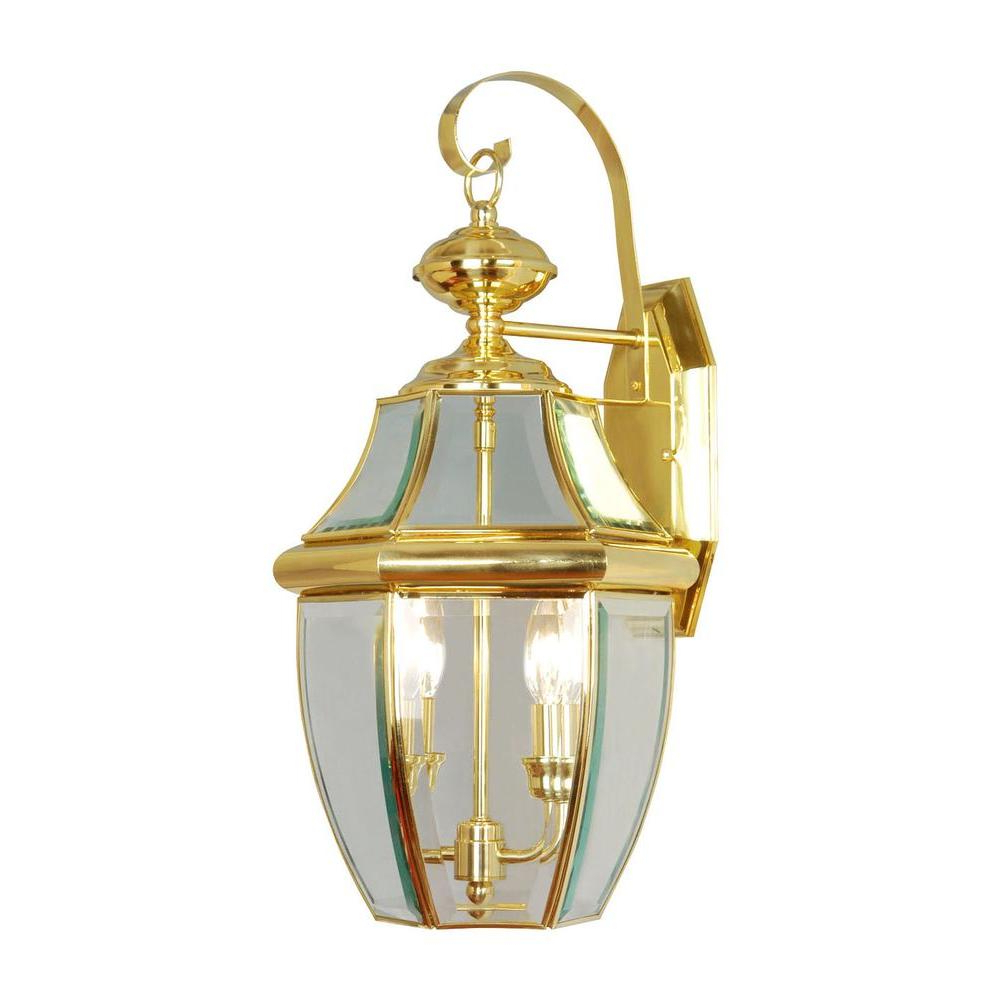 Chicopee Beveled Glass Outdoor Wall Lanterns Intended For Fashionable Livex Lighting 2 Light Bright Brass Outdoor Wall Lantern (View 6 of 15)