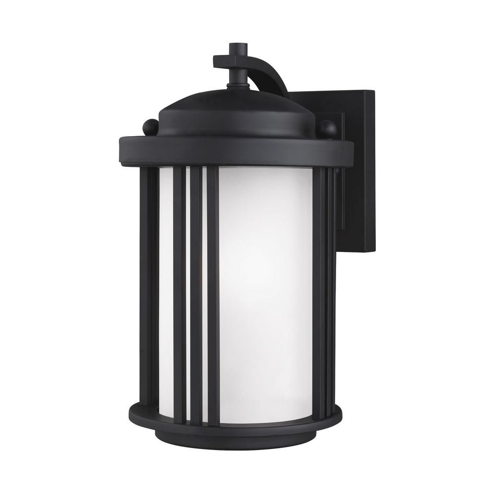 Clarisa Seeded Glass Outdoor Barn Lights With Dusk To Dawn Pertaining To Most Up To Date Crowell 1 Light Black Outdoor Wall Mount Lantern With Led (View 6 of 15)