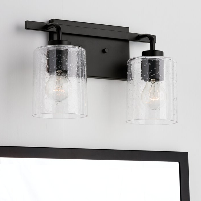 Coastal Farmhouse Babson 2 Light Dimmable Vanity Light Within 2019 Keikilani Matte Black  (View 2 of 15)